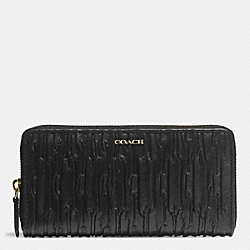 COACH MADISON GATHERED LEATHER ACCORDION ZIP WALLET - LIGHT GOLD/BLACK - F51498