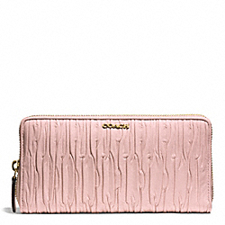 COACH MADISON GATHERED LEATHER ACCORDION ZIP WALLET - LIGHT GOLD/NEUTRAL PINK - F51498