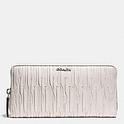 MADISON GATHERED LEATHER ACCORDION ZIP WALLET - SILVER/PARCHMENT - COACH F51498