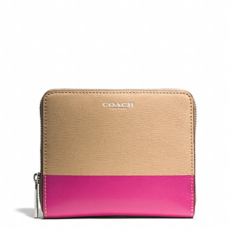 COACH SAFFIANO PRINTED TWO TONE LEATHER MEDIUM CONTINENTAL ZIP AROUND - SILVER/CAMEL/PINK RUBY - f51508
