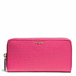 MADISON EMBOSSED LEATHER ACCORDION ZIP WALLET - f51512 - LIGHT GOLD/PINK RUBY