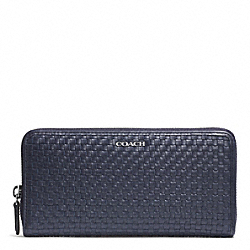 COACH BLEECKER WOVEN LEATHER ACCORDION ZIP WALLET - SILVER/NAVY - F51522