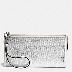 COACH BLEECKER ZIPPY WALLET IN METALLIC CRACKLE CANVAS - SILVER/WHITE - F51524