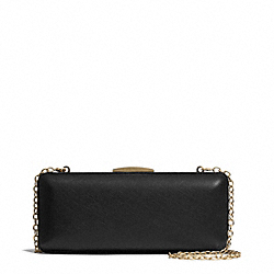 COACH SAFFIANO LEATHER MINIAUDIERE - BRASS/BLACK - F51526
