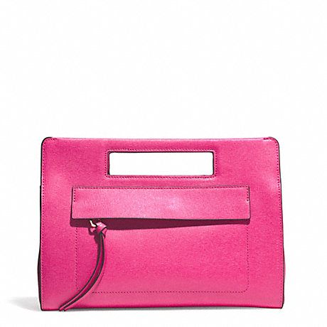COACH SAFFIANO POCKET CLUTCH - LIGHT GOLD/PINK RUBY - f51534
