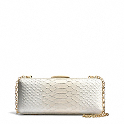 MADISON PYTHON EMBOSSED LEATHER PINNACLE MINAUDIERE - f51550 - LIGHT GOLD/WHITE IVORY