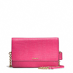 COACH MADISON EMBOSSED LEATHER CROSSTOWN BAG - LIGHT GOLD/PINK RUBY - F51556