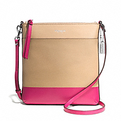 COACH PRINTED TWO TONE NORTH/SOUTH SWINGPACK - SILVER/CAMEL/PINK RUBY - F51557