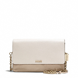 COACH COLORBLOCK MIXED LEATHER CROSSTOWN BAG - LIGHT GOLD/NATURAL MULTI - F51571