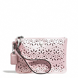 COACH METRO EYELET LEATHER SMALL WRISTLET - SILVER/SHELL PINK - F51609