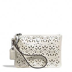 COACH METRO EYELET LEATHER SMALL WRISTLET - SILVER/IVORY - F51609
