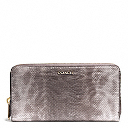 COACH MADISON PINNACLE EMBOSSED SPOTTED LIZARD ACCORDION ZIP WALLET - LIGHT GOLD/SILVER - F51614