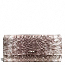 COACH MADISON PINNACLE EMBOSSED SPOTTED LIZARD SOFT WALLET - LIGHT GOLD/SILVER - F51615