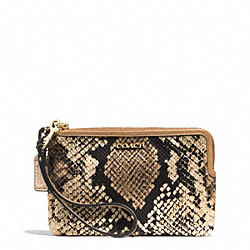 MADISON PYTHON PRINTED L-ZIP SMALL WRISTLET - f51618 - LIGHT GOLD/NATURAL
