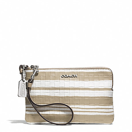 COACH BLEECKER EMBOSSED WOVEN LEATHER L-ZIP SMALL WRISTLET - SILVER/FAWN/WHITE - f51619