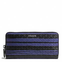 COACH BLEECKER EMBOSSED WOVEN LEATHER ACCORDION ZIP WALLET - SILVER/BLUE INDIGO/BLACK - F51620