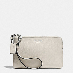 COACH BLEECKER SMALL WRISTLET IN PEBBLE LEATHER - AK/CEMENT - F51622