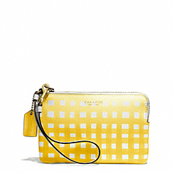 COACH GINGHAM SAFFIANO L-ZIP SMALL WRISTLET - LIGHT GOLD/WHITE/SUNGLOW - F51631