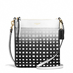 GINGHAM SAFFIANO NORTH/SOUTH SWINGPACK - f51632 - LIGHT GOLD/WHITE/BLACK