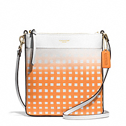 COACH GINGHAM SAFFIANO NORTH/SOUTH SWINGPACK - LIGHT GOLD/WHITE/BRIGHT MANDARIN - F51632