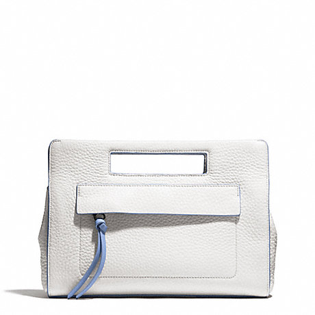 COACH BLEECKER EDGEPAINT LEATHER POCKET CLUTCH - SILVER/WHITE/BLUE OXFORD - f51635