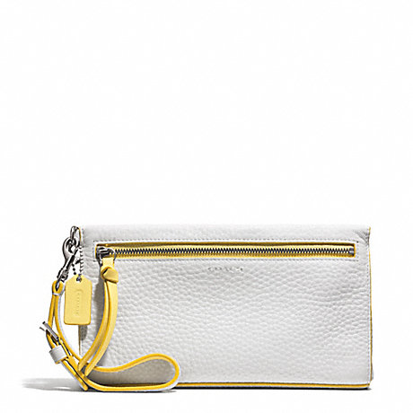 COACH BLEECKER EDGEPAINT LEATHER LARGE WRISTLET - SILVER/WHITE/SUNGLOW - f51639