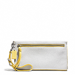 BLEECKER EDGEPAINT LEATHER LARGE WRISTLET - SILVER/WHITE/SUNGLOW - COACH F51639