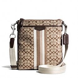 SIGNATURE STRIPE TWILL NORTH/SOUTH SWINGPACK - SILVER/KHAKI/MAHOGANY - COACH F51648