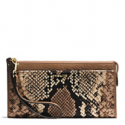 COACH MADISON PYTHON PRINT ZIPPY WALLET - LIGHT GOLD/NATURAL - F51659