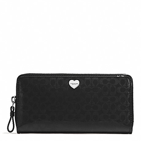COACH PERFORATED EMBOSSED LIQUID GLOSS ACCORDION ZIP WALLET - SILVER/BLACK - f51675