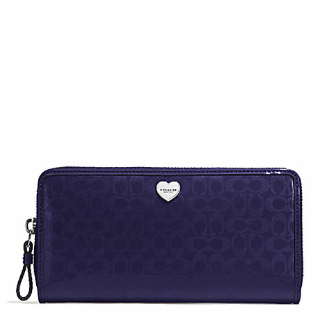 COACH PERFORATED EMBOSSED LIQUID GLOSS ACCORDION ZIP WALLET - SILVER/NAVY - f51675