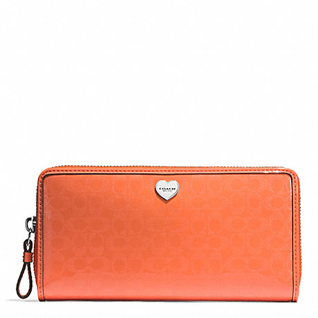 COACH PERFORATED EMBOSSED LIQUID GLOSS ACCORDION ZIP WALLET - SILVER/ORANGE - f51675