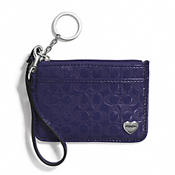COACH PERFORATED EMBOSSED LIQUID GLOSS ID SKINNY - SILVER/NAVY - F51676