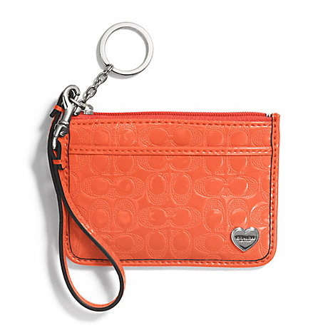 COACH PERFORATED EMBOSSED LIQUID GLOSS ID SKINNY - SILVER/ORANGE - f51676