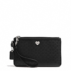 PERFORATED EMBOSSED LIQUID GLOSS MEDIUM WRISTLET - f51677 - SILVER/BLACK