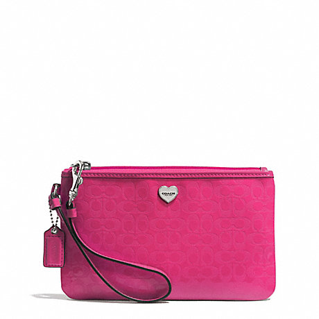 COACH PERFORATED EMBOSSED LIQUID GLOSS MEDIUM WRISTLET - SILVER/FUCHSIA - f51677