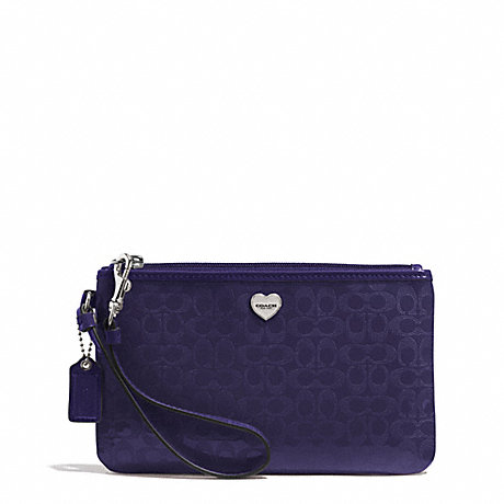 COACH PERFORATED EMBOSSED LIQUID GLOSS MEDIUM WRISTLET - SILVER/NAVY - f51677