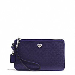 PERFORATED EMBOSSED LIQUID GLOSS MEDIUM WRISTLET - f51677 - SILVER/NAVY