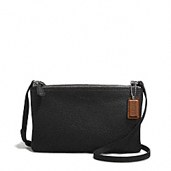 PARK LEATHER LYLA DOUBLE GUSSET CROSSBODY - f51682 - SILVER/BLACK