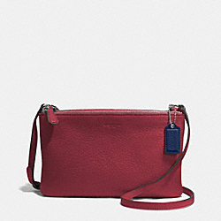 COACH PARK LEATHER LYLA DOUBLE GUESSET CROSSBODY - SILVER/CRIMSON - F51682