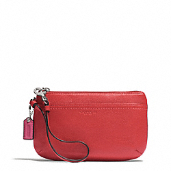 PARK LEATHER MEDIUM WRISTLET - f51683 - SILVER/VERMILLION