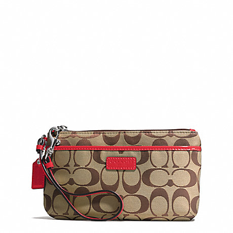 COACH f51685 PARK SIGNATURE MEDIUM WRISTLET SILVER/KHAKI/VERMILLION
