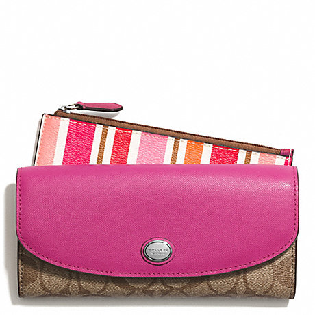 COACH PEYTON MULTI STRIPE SLIM ENVELOPE WALLET WITH POUCH - SILVER/PINK MULTICOLOR - f51690