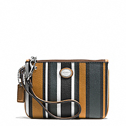 COACH PEYTON MULTI STRIPE SMALL WRISTLET - SILVER/BLACK MULTI - F51691
