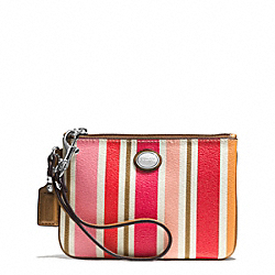 COACH PEYTON MULTI STRIPE SMALL WRISTLET - SILVER/PINK MULTICOLOR - F51691