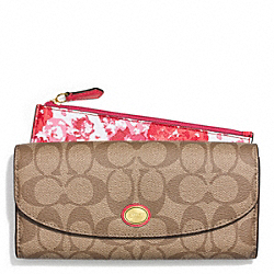 COACH PEYTON FLORAL PRINT SLIM ENVELOPE WALLET WITH POUCH - BRASS/PINK MULTICOLOR - F51693