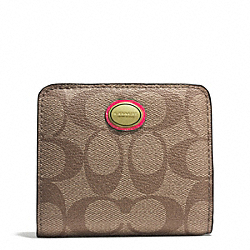 COACH PEYTON FLORAL PRINT SMALL WALLET - BRASS/PINK MULTICOLOR - F51694