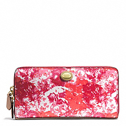 COACH PEYTON FLORAL PRINT ACCORDION ZIP WALLET - BRASS/PINK MULTICOLOR - F51695