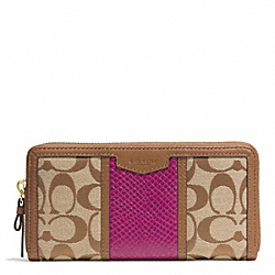 COACH SIGNATURE STRIPE WITH SNAKE ACCORDION ZIP WALLET - IMITATION METAL/KHAKI/CHERRY - F51698
