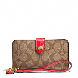COACH PEYTON SIGNATURE PHONE WALLET - B4/PERSIMMON - F51700